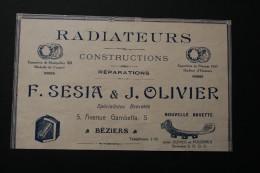 PUBLICITE COMMERCE RADIATEURS SESIA ET OLIVIER FABRIQUE AGGLOMERES SAFA BEZIERS - Advertising