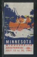 USA 1941 MINNESOTA MINNEAPOLIS AQUATENNIAL FISHING ANGLING BOAT NO GUM POSTER STAMP CINDERELLA REKLAMENMARKEN - Vereinigte Staaten