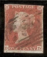 Grande-Bretagne (GB) Victoria 1841 - Penny Rouge Planche 151 DD - Oblitérés