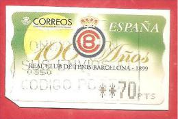 SPAGNA USATO - 1999 - ATM LABEL - 100° Real Club Tenis Barcelona -  70 Pta - Marcofilia - EMA ( Maquina De Huellas A Franquear)