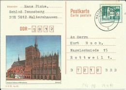 ALEMANIA DDR ENTERO POSTAL MAT WALTERSHAUSEB  STARLSUND RATHAUS - [6] República Democrática