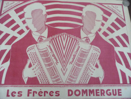 Affiche Musicale Publicitaire Illustrée Par Curly John . Les Frères Dommergue Accordéoniste..Fratelli Corsio - Plakate & Poster