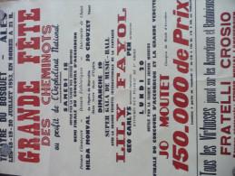 Affiche Musicale Alès 1953. Grande Fête Des Cheminots.Jo Mortet, Lili Fayol.Accordéon Fratelli Corsio - Affiches & Posters