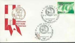 ASTI-6° CONVEGNO NUMISMATICO NAZIONALE -5-5-1973 - Esposizioni Filateliche