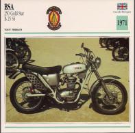 1971 - FICHE TECHNIQUE MOTO - DÉTAIL COMPLET À L´ENDOS - BSA 250 GOLD STAR B 25 SS - TOUT TERRAIN - GRANDE BRETAGNE - Motos