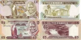 ZAMBIA 2 BANCONOTE 2 5 KWACHA 1980-1988 UNC FDS - Zambie