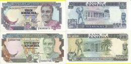 ZAMBIA 2 BANCONOTE 10 20 KWACHA 1989-1991 UNC FDS - Zambia