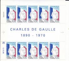 DE GAULLE/1995 / FEUILLET DE 10 T COMPLET  Avec Coin Daté - Unused Stamps