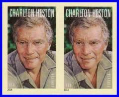 USA 2014 CHARLTON HESTON Imperforated / NON-DENTELE  Horizontal GUTTER PAIR MNH (MOVIES, JUDAICA) - Other