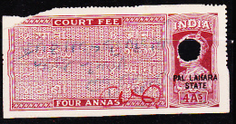 BRITISH INDIA KGVI OVERPRINT PAL LAHARA STATE COURT FEE REVENUE FISCAL OLD RARE USED STAMPS #5011 - India