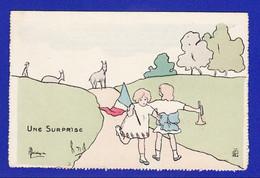 é3 / 3) Enfant CHEVRE  ET DRAPEAU  Une Surprise  Par Illustrateur:  Signature ??? = TTB ETAT= - Tarjetas Humorísticas