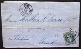 GC 2145 + CACHET Type 15  --  LYON LA CROIX ROUSSE  --  RHONE  --  LAC  --  1868  --  INDICE 12 - 1849-1876: Classic Period