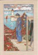 Peintres De Bretagne : Embarquement Des Filets Au Port Du Guilvinec Raymond Louis Quillivic Dimensions 19/13 Cm - Peintures & Tableaux