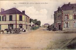 """Combrée..animée..Quartier De La Gare..Hôtel De La Gare """"Chez Martial""""..café """"Bouteillé""""..attelage..très Beau Visuel - France"""