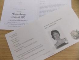 Doodsprentje Marie Rose (Roos) Six Wervik 24/8/1957 Gent 28/5/2011 ( André Bille ) - Religione & Esoterismo