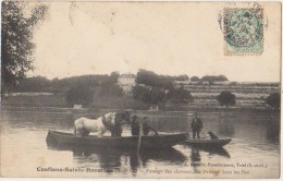 CPA 78 CONFLANS SAINTE HONORINE Passage Des Chevaux Par Le Bac Du Prieuré Dans Les Iles 1906 - Conflans Saint Honorine