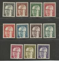 GERMANY 1970, Mint Never Hinged Stamp(s), Gustav Heinemann, 11 Values, Nrs. 635-645, #12924 - [7] Federal Republic