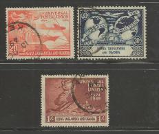 KENYA.TANGANYIKA & UGANDA 1949, Cancelled Stamp(s), U.p.u. Sgnrs. 159=162, #7425 (3 VALUES ONLY) - Kenya, Uganda & Tanganyika