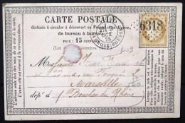 GC 6318 + CACHET Type 17  --  LYON LA CROIX ROUSSE  --  RHONE  --  LAC  --  1875  --  INDICE 9 - Marcophilie (Lettres)