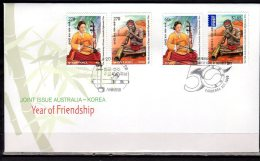 2011 -Australia  - S. Korea -Musical Instruments  - Joint Issue - Mixed FDC - Música