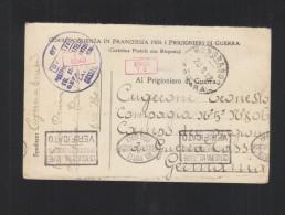 Corrispondenza In Franchigia Per Prigionieri Di Guerra 1918 Censura - 1900-44 Victor Emmanuel III.
