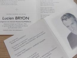 Doodsprentje Lucien Bryon Ieper 5/2/1942 Wervik 8/12/2010 ( Rosette Allemeersch ) - Religion & Esotérisme