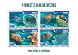 mld13209a Maldvis 2013 Marine species s/s Shark Turtle Shell Fish