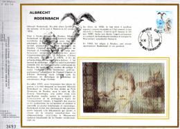 Feuillet Tirage Limité CEF 284 160 1993 Albrecht Rodenbach Statue Du Poète Et Goéland Cendré - Maximumkarten (MC)