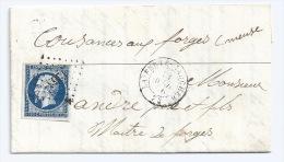 N° 14 BLEU NAPOLEON SUR LETTRE LA FERTE GAUCHER SEINE ET MARNE POUR COUSANCES AUX FORGES MEUSE / 14 AVRIL 1856 - Marcophilie (Lettres)