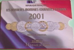 France - Série Brillant Universel  2001 - Les Dernières Monaies Courantes En Franc - 10 Pièces De 1 Cent à 20 Francs - Z. FDC