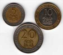 Kenya : Lot De 3 Pièces BIMETAL : 5 Shillings 1997 / 10 Shillings 1994 / 20 Shillings 1998 - Kenya