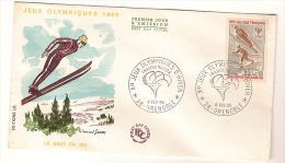 France & FDC Des Xèmes Jeux Olympiques D´Hiver De Grenoble, Salto De SKI 1968 - Winter 1968: Grenoble