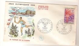 France & FDC Des Xèmes Jeux Olympiques D´Hiver De Grenoble, Portador Da Chama 1968 (2) - Winter 1968: Grenoble