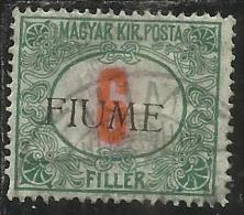 FIUME 1918 1919 SEGNATASSE TAXES TASSE POSTAGE DUE 6 F. USATO USED OBLITERE' - Fiume