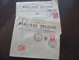 Lot De 2 Lettres Publicitaires Taxées Avec TP Marianne De Gandon France. Réglisserie Deleuze Montpellier 1948 Et 1951 - Storia Postale