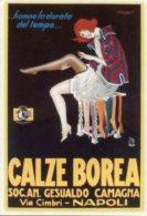 Cartolina CALZE BOREA A. Luciano Mauzan (Ristampa Moderna Promocard, Novacharta) - OTTIMA G63 - Advertising