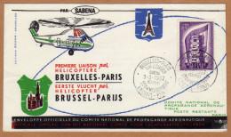 Enveloppe Cover Brief  Offficielle 995  Sabena Première Liaison Par Hélicoptère Bruxelles Paris - Covers & Documents