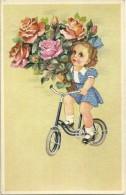 Petite Fille à Vélo, Gros Bouquet De Roses Roses. - Scènes & Paysages