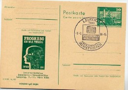 Esperanto-Messetreffen Leipzig DDR P79-1a-84 C219-b Postkarte PRIVATER ZUDRUCK Sost. 1984 - Esperanto