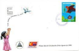 NICARAGUA. N°2249A Sur Enveloppe 1er Jour (FDC) De 1998. Dessin D´enfant Sur La Paix/Colombe. - Infanzia & Giovinezza