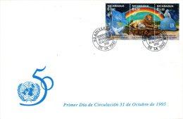 NICARAGUA. N°2016-8 Sur Enveloppe 1er Jour (FDC) De 1995. 50 Ans De L'ONU/Lion/Colombe/Agneau/Drapeau/Casque Bleu. - ONU