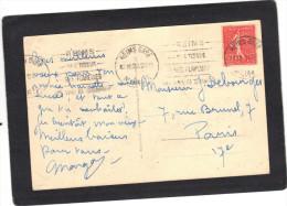 Yvert 199 Semeuse Lignée Cachet Flamme Reims Gare 1928 Sur Carte Postale - Railway Post