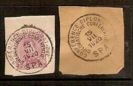 Nr. 140 Op Fragment Met Afstempeling CONFERENCE DIPLOMATIQUE SPA Dd. 15/7/1920  ! Inzet Aan 5 € ! - 1915-1920 Albert I