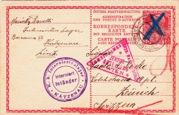 Katzenau, Linz.  Campo Per Internati Austriaco To Zurigo 10 Sett. 1916 - Prison