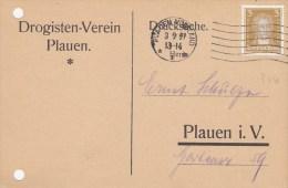DR 386 EF  Auf Postkarte Des Drogistenvereins, Mit Stempel: Plauen 3.9.1927 - Duitsland