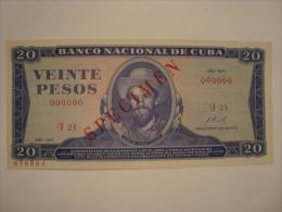 CUBA - 20 Pesos 1971 - Specimen - état Neuf - UNC - P.105 S - Cuba