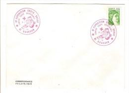 FRANCE - TIMBRE SABINE AVEC CACHET ROUGE EXPOSITION CROIX ROUGE - DOURDAN 1979 - Marcofilie (Brieven)