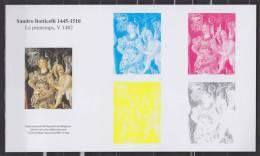 Bloc Gommé, Etapes Impression En Héliogravure Du Timbre Du Bloc Sandro Botticelli, Le Printemps, France Type N°4518 - Blocs & Feuillets