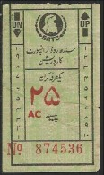 Pakistan Sind Old Bus Transport  Ticket  Value 25 Paisa - Autobus