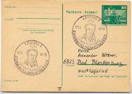 GOETHE FAUST ESPERANTO Leipzig 1982 Azf DDR P81A Antwort-Postkarte - Esperanto